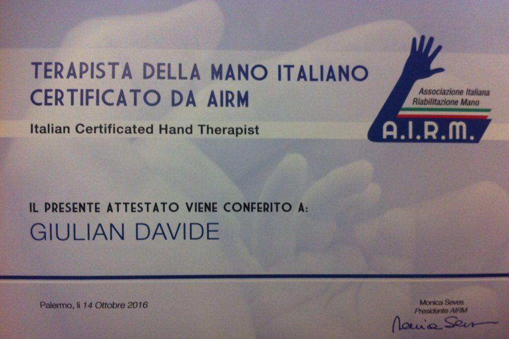 Davide Giulian è il nuovo Vice Presidente dell'Associazione Italiana di Riabilitazione della Mano (AIRM)